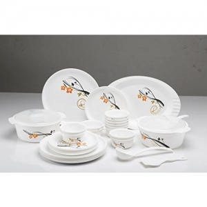 Joy Home Microwave Safe Dinner Set-32 Pcs (Printed Round - White)