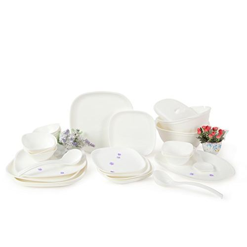 Joy Home Microwave Safe Dinner Set-32 Pcs Square White