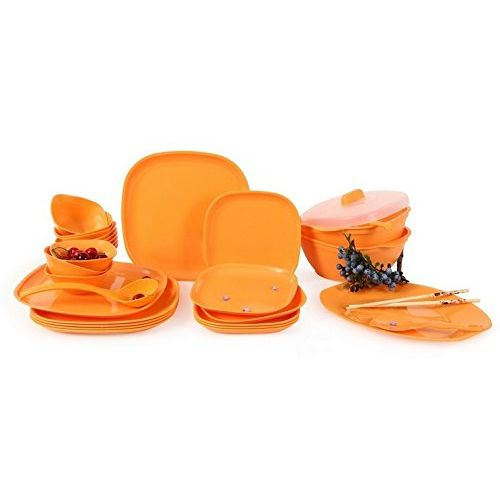 Joy Home Microwave Safe Dinner Set-32 Pcs Square Orange