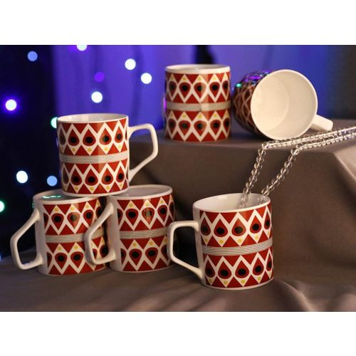 Femora Bone China Classical Red Pattern Microwave Safe Tea Cup Coffee Set of 6, 185 ml Bone China Mug(185 ml, Pack of 06)