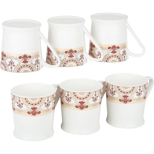 Femora Bone China Red Floral Border Microwave Safe Tea Cup Coffee for Office & Home, Set of 6, 210ml- 1 Year Warranty Bone China Mug(210 ml, Pack of 06)