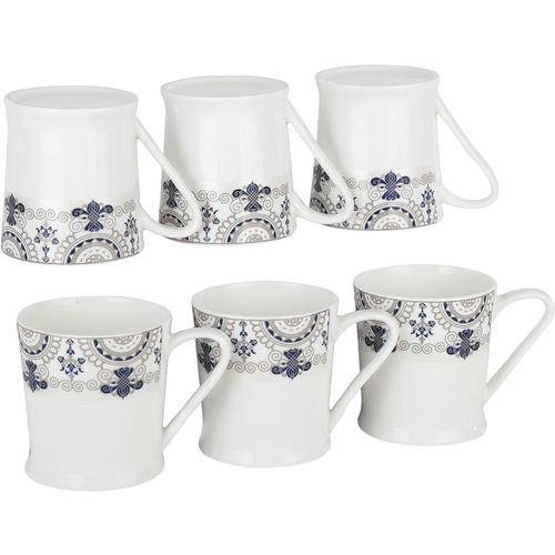 Femora Bone China Blue Floral Border Microwave Safe Tea Cup Coffee for Office & Home, Set of 6, 210ml- 1 Year Warranty Bone China Mug(210 ml, Pack of 06)