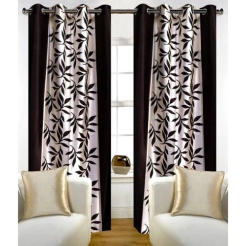 Red Hot 210 cm (7 ft) Polyester Door Curtain (Pack Of 2)(Floral, Brown)