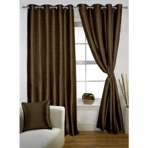 Red Hot 210 cm (7 ft) Polyester Door Curtain (Pack Of 2)(Plain, Brown)