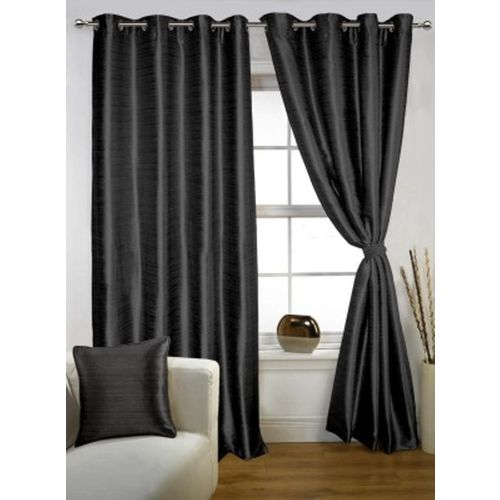 Red Hot 150 cm (5 ft) Polyester Window Curtain (Pack Of 2)(Plain, Black)