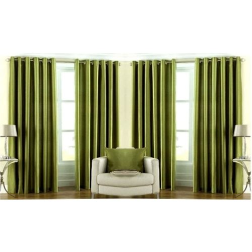 Red Hot 270 cm (9 ft) Polyester Long Door Curtain (Pack Of 4)(Plain, Green)