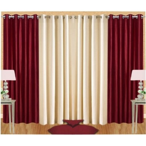 Red Hot 210 cm (7 ft) Polyester Door Curtain (Pack Of 4)(Plain, Multicolor)