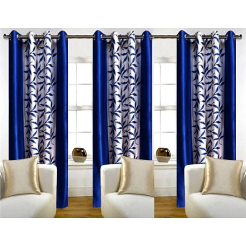 Red Hot 150 cm (5 ft) Polyester Window Curtain (Pack Of 3)(Floral, Blue)