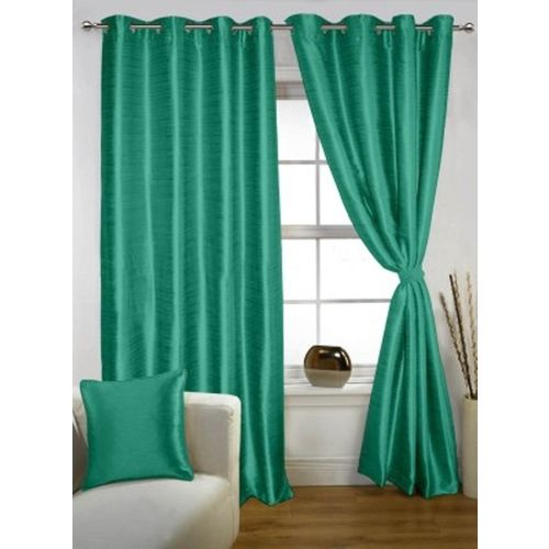 Red Hot 270 cm (9 ft) Polyester Long Door Curtain (Pack Of 2)(Plain, Blue)