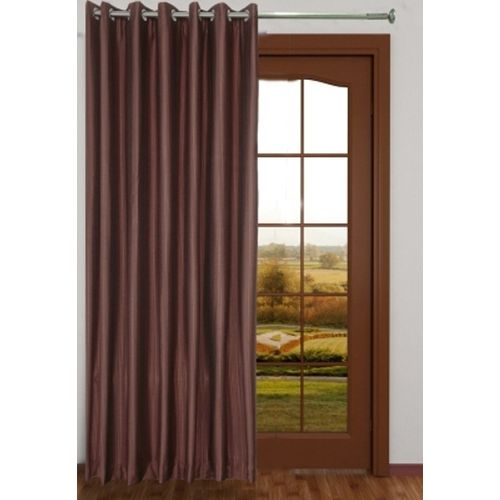 Red Hot 270 cm (9 ft) Polyester Long Door Curtain Single Curtain(Plain, Brown)