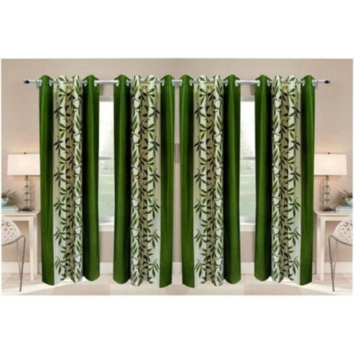 Red Hot 270 cm (9 ft) Polyester Long Door Curtain (Pack Of 4)(Floral, Green)