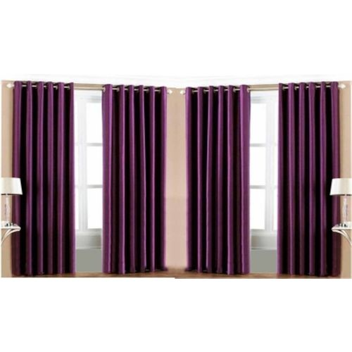 Red Hot 150 cm (5 ft) Polyester Window Curtain (Pack Of 4)(Plain, Purple)