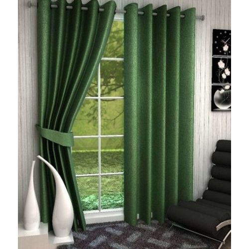 Red Hot 210 cm (7 ft) Polyester Door Curtain (Pack Of 2)(Plain, Green)