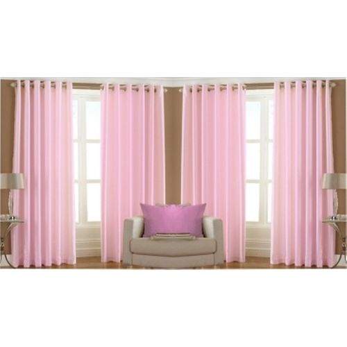 Red Hot 150 cm (5 ft) Polyester Window Curtain (Pack Of 4)(Plain, Pink)