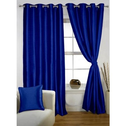 Red Hot 150 cm (5 ft) Polyester Window Curtain (Pack Of 2)(Plain, Blue)