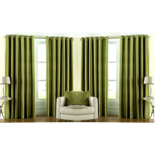 Red Hot 150 cm (5 ft) Polyester Window Curtain (Pack Of 4)(Plain, Green)