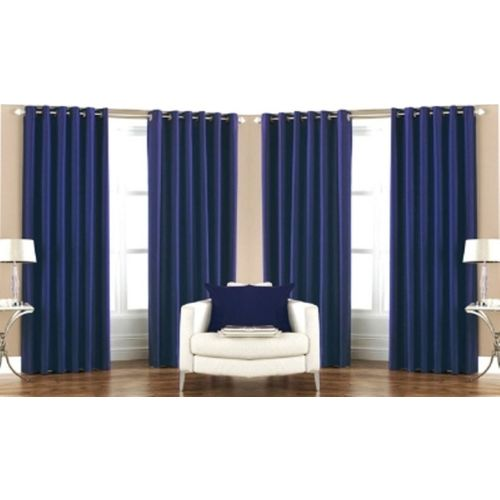 Red Hot 210 cm (7 ft) Polyester Door Curtain (Pack Of 4)(Plain, Blue)