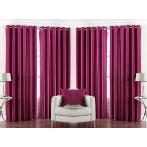 Red Hot 270 cm (9 ft) Polyester Long Door Curtain (Pack Of 4)(Plain, Red)