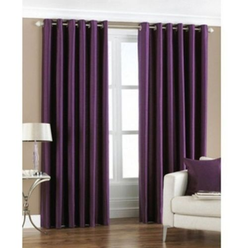 Red Hot 270 cm (9 ft) Polyester Long Door Curtain (Pack Of 2)(Plain, Purple)