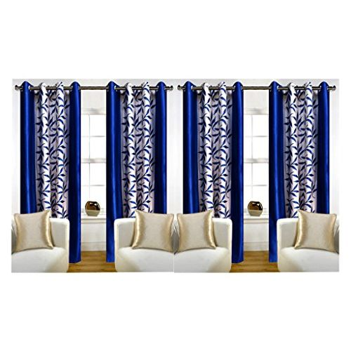 RED HOT Blue Polyester Curtain Set of 4