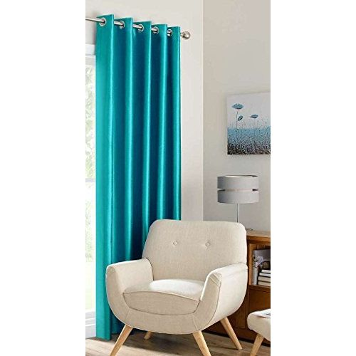 RED HOT Blue Polyester Single Curtain 7 Ft