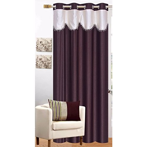 RED HOT Polyester Single Door Curtain (Brown, 4x7ft)