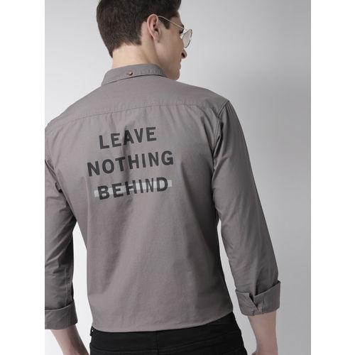 Mast & Harbour Men Charcoal Grey Regular Fit Printed Casual Shirt