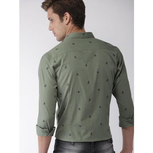 Mast & Harbour Men Olive Green & Black Regular Fit Printed Casual Shirt