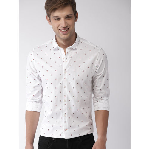 Mast & Harbour Men White Slim Fit Printed Casual Shirt