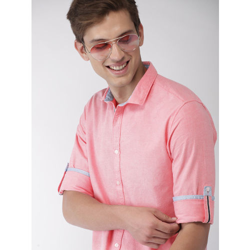 Mast & Harbour Men Coral Pink Slim Fit Solid Casual Shirt