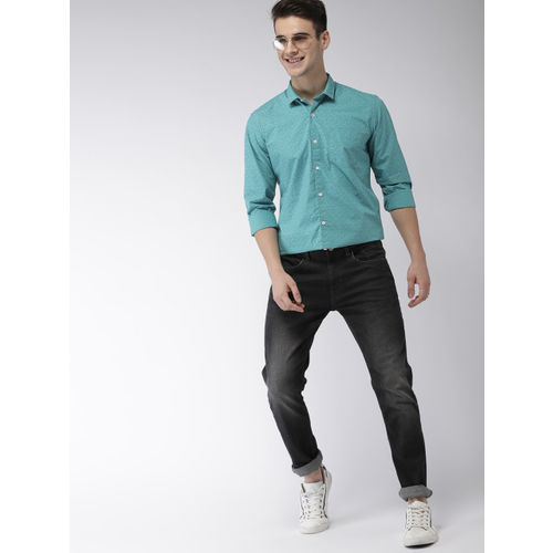 Mast & Harbour Men Teal Blue Slim Fit Printed Casual Shirt