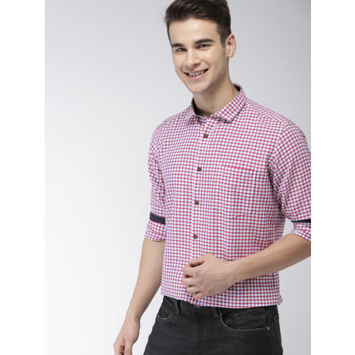 Mast & Harbour Men Red & White Slim Fit Checked Casual Shirt