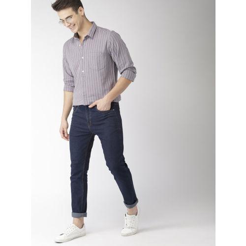 Mast & Harbour Men Grey Slim Fit Striped Casual Shirt