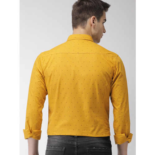Mast & Harbour Men Mustard Yellow Slim Fit Printed Casual Shirt