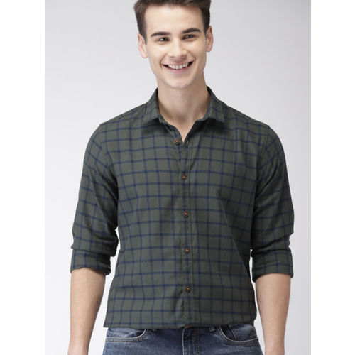 Mast & Harbour Men Olive Green & Navy Regular Fit Checked Casual Shirt