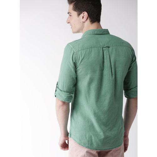 Mast & Harbour Men Green Regular Fit Solid Casual Shirt