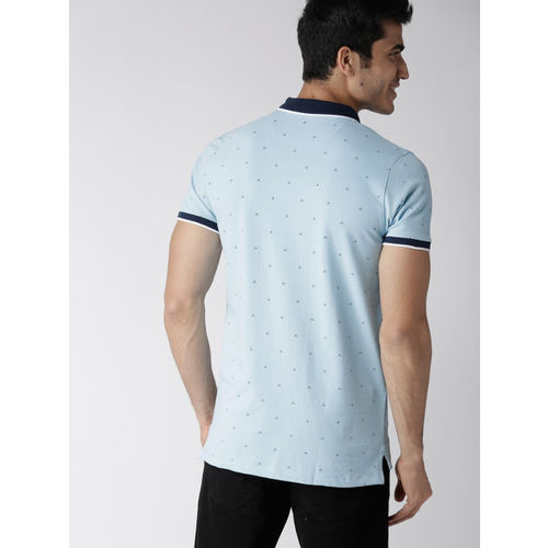 Mast & Harbour Men Blue Printed Polo Collar T-shirt