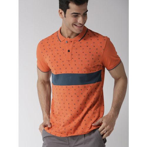 Mast & Harbour Men Orange & Navy Blue Printed Polo Collar T-shirt
