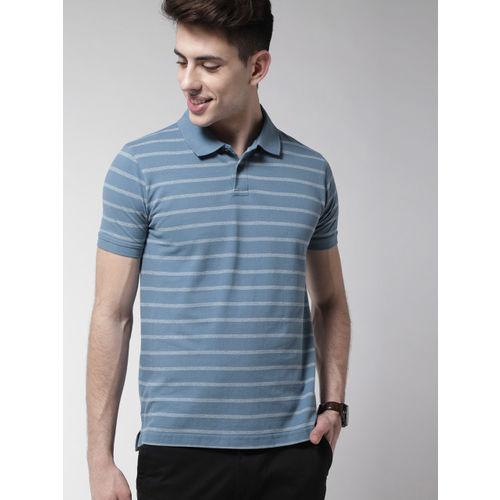 Mast & Harbour Men Blue Striped Polo Collar T-shirt