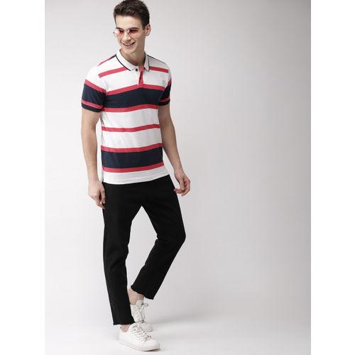 Mast & Harbour Men White & Navy Striped Polo Collar T-shirt