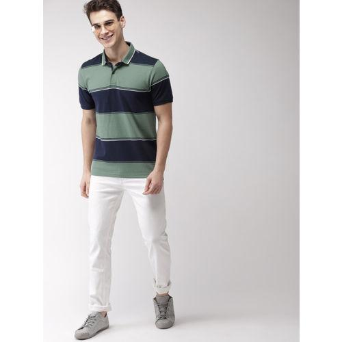 Mast & Harbour Men Green & Navy Colourblocked Polo Collar T-shirt