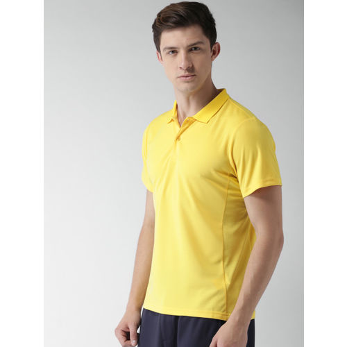 Mast & Harbour Men Yellow Solid Polo T-shirt