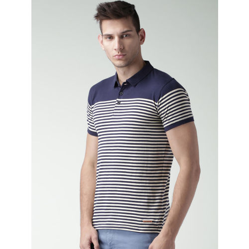 Mast & Harbour Navy & Beige Striped Polo T-shirt