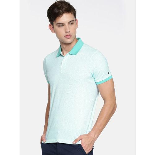 Arrow Sport Men White & Blue Printed Polo Collar T-shirt