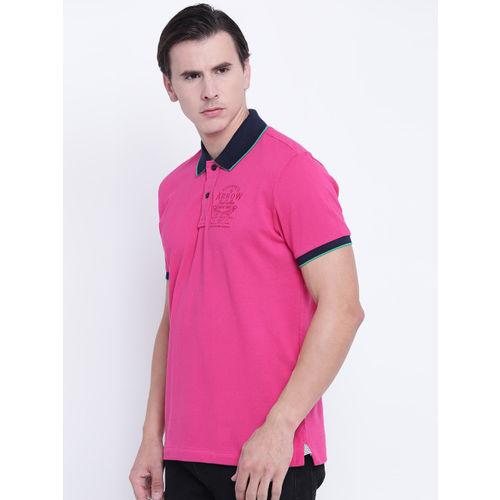 Arrow Sport Men Pink Solid Polo Collar T-shirt