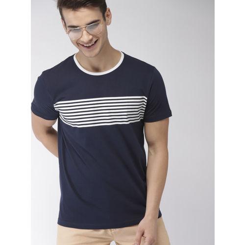 ef6b62394cd Buy Mast & Harbour Men Navy Blue Striped Round Neck T-shirt online ...