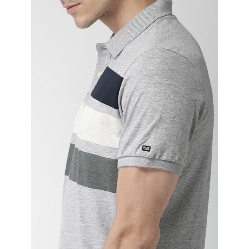 Arrow Sport Men Grey Melange Solid Polo Collar T-shirt