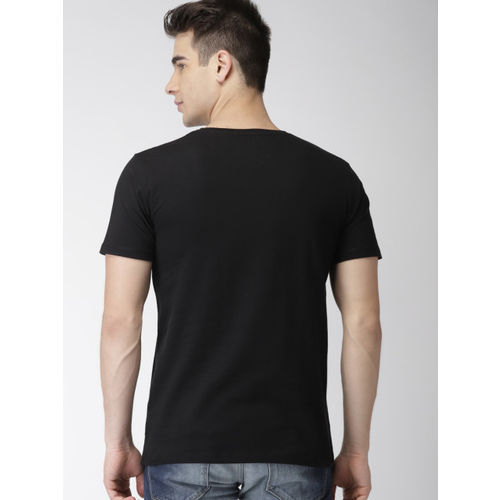 Mast & Harbour Men Twin Collection Black Printed Round Neck T-shirt
