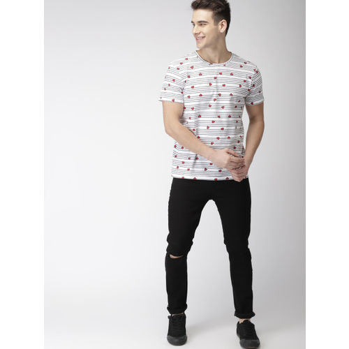 Mast & Harbour Men Twin Collection White & Red Printed Round Neck T-shirt