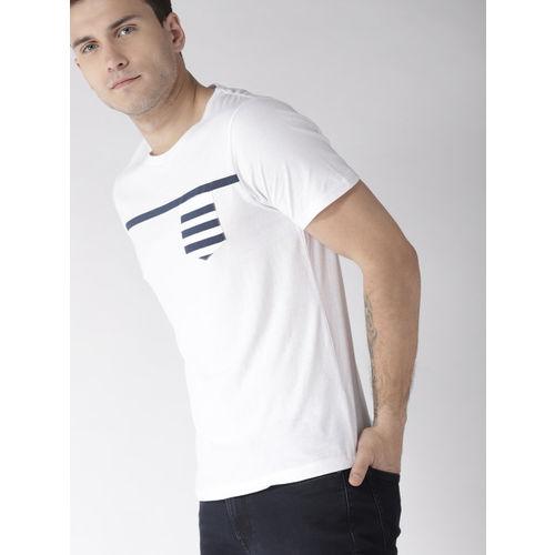 Mast & Harbour Men White Striped Detail Round Neck T-shirt